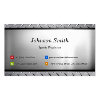 Sports Physician - Stylish Platinum Look Business Card Template