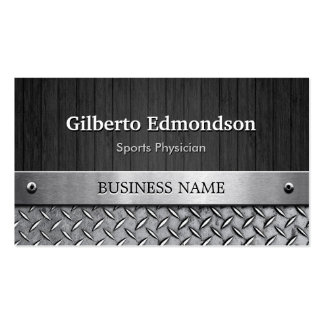 Sports Physician - Wood and Metal Look Business Cards