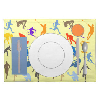 Sports placemat with plate, glass & flatware