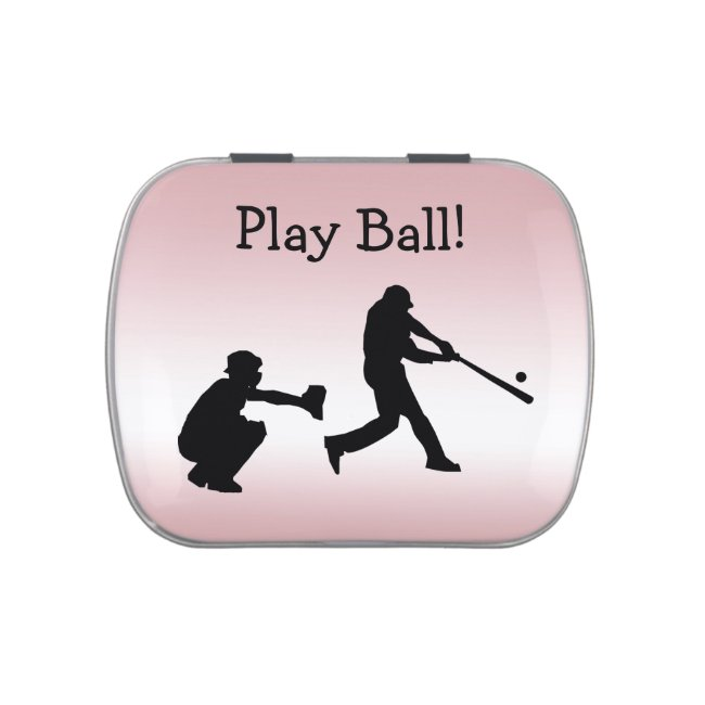 Sports Play Ball Girly Pink Baseball Candy Tin
