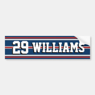 Sports Player Team Name and Number Bumper Sticker