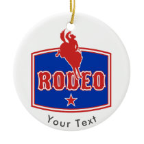 SPORTS Rodeo Bronco Rider Logo Ceramic Ornament