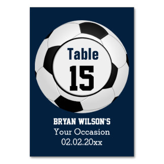 Sports Soccer theme Personalized table numbers