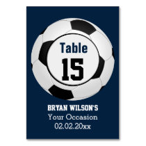 Sports Soccer theme Personalized table numbers Card