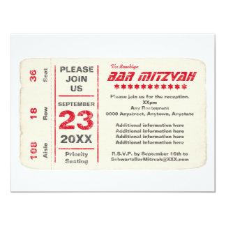 Sports Star Bar Mitzvah Reception Card, Red Card