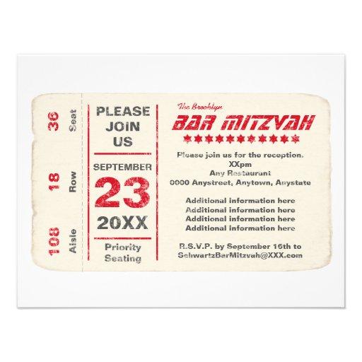 Sports Star Bar Mitzvah Reception Card, Red Custom Invites
