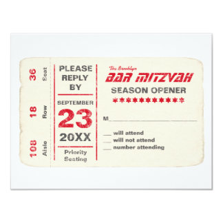 Sports Star Bar Mitzvah Reply Card, Red Card