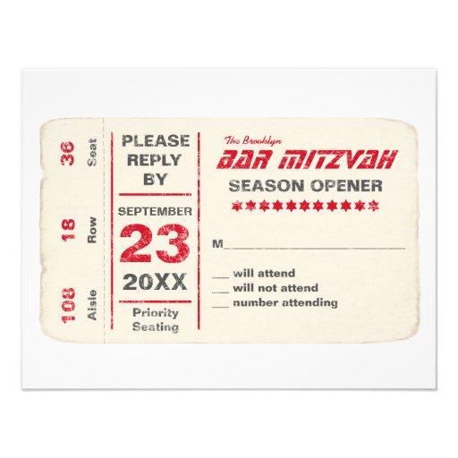 Sports Star Bar Mitzvah Reply Card, Red Custom Invitations