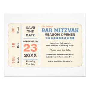 Sports Star Bar Mitzvah Save the Date Card, Blue Custom Announcements