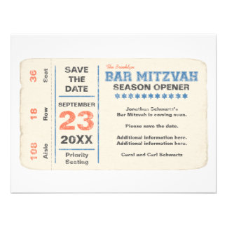 Sports Star Bar Mitzvah Save the Date Card, Blue Custom Announcements
