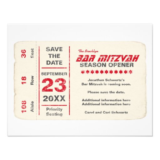Sports Star Bar Mitzvah Save the Date Card, Red Announcement
