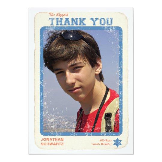 Sports Star Bar Mitzvah Thank You Card