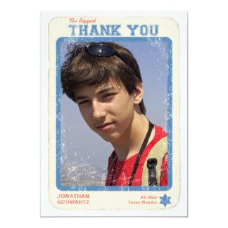 "Sports Star Bar Mitzvah Thank You Card 5"" X 7"" Invitation Card"