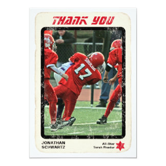Sports Star Bar Mitzvah Thank You Card, Red 5x7 Paper Invitation Card