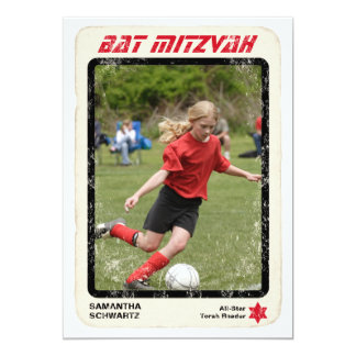 Sports Star Bat Mitzvah Invitation in Red