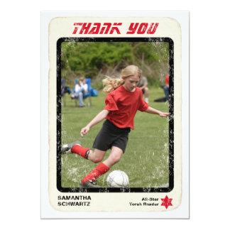 "Sports Star Bat Mitzvah Thank You Card, Red 5"" X 7"" Invitation Card"