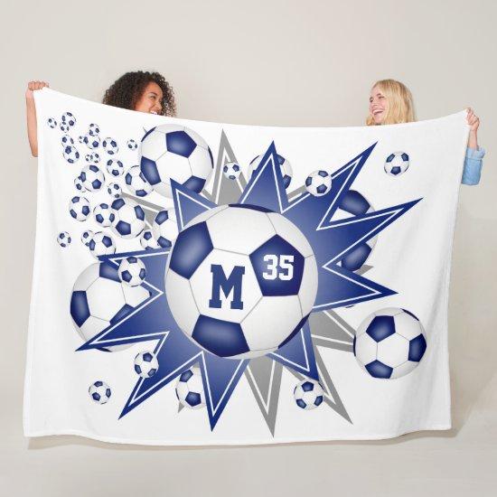 sports star blue white soccer ball blowout fleece blanket
