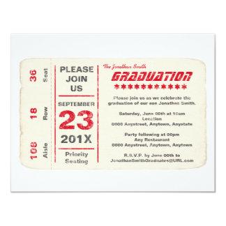 Sports Star Ticket Graduation, Red 4.25x5.5 Paper Invitation Card