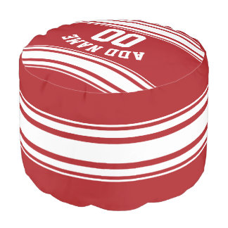 Sports Striped Jersey with Custom Name Number Round Pouf