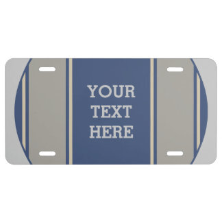 SPORTS STRIPES - Blue Stone + your text License Plate