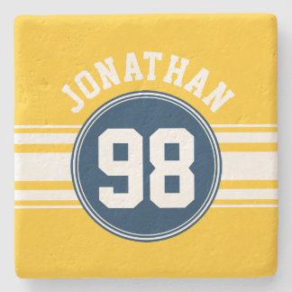 Sports Stripes Navy Blue & Yellow Name Number Stone Beverage Coaster