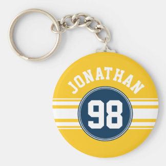 Sports Stripes Navy Blue & Yellow Name Number Basic Round Button Keychain