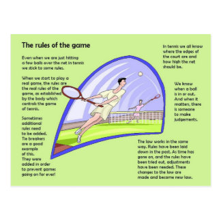 Sports Studies, Tennis, Rules of the game Postcard