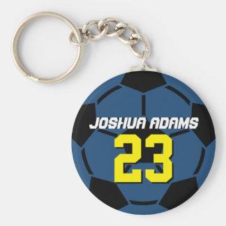 Sports Team Blue Soccer Ball Keychain
