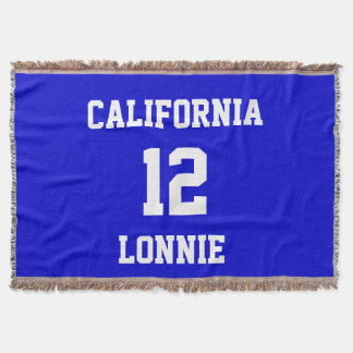 Sports Team Fan Customized Medium Blue Throw Blanket