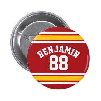 Sports Team Football Jersey Custom Name Number 2 Inch Round Button