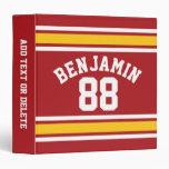 Sports Team Football Jersey Custom Name Number 3 Ring Binder