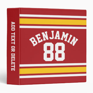 Sports Team Football Jersey Custom Name Number 3 Ring Binder