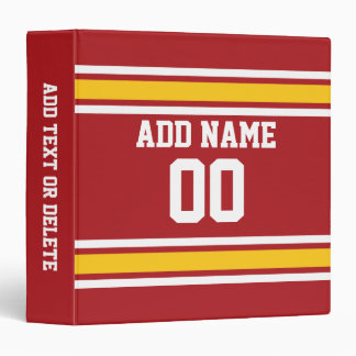 Sports Team Football Jersey Custom Name Number Binder