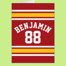 Sports Team Football Jersey Custom Name Number Card