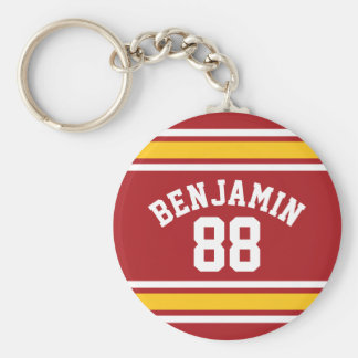 Sports Team Football Jersey Custom Name Number Keychain