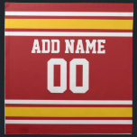 "Sports Team Football Jersey Custom Name Number Napkin<br><div class=""desc"">Red,  Gold  and White colors -- If you are a Fantasy Football team owner,  make your own products and show off to your friends! Or - Do you play High School Football and want a memento? This jersey design is perfect for anyone playing sports.</div>"