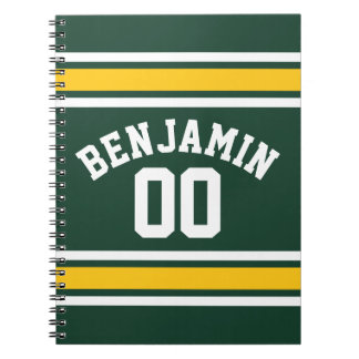 Sports Team Football Jersey Custom Name Number Spiral Notebook