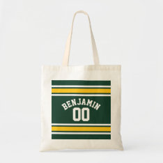 Sports Team Football Jersey Custom Name Number Tote Bag at Zazzle