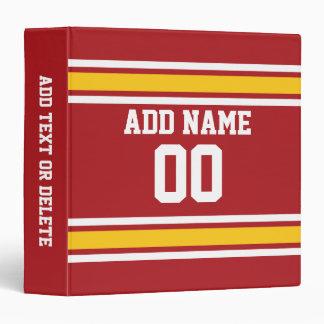 Sports Team Football Jersey Custom Name Number Vinyl Binders