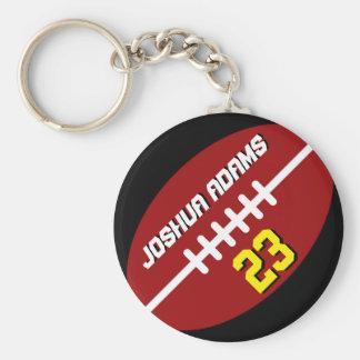 Sports Team Red Black Football Keychain
