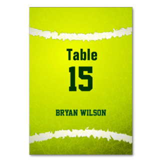 Sports Tennis theme Personalized table numbers Card