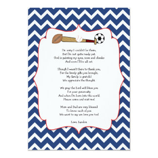 Sports theme baby shower gift POEM thank you note 5x7 Paper Invitation Card