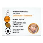 Sports Theme Balls Photo Birthday Party Invite