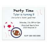 Sports Theme Birthday Party Invitation