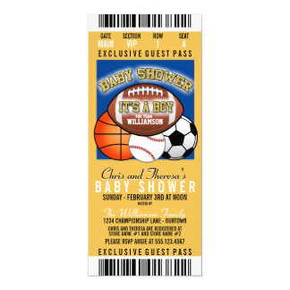 Sports Theme (blue/yellow) Party Baby Shower 4x9.25 Paper Invitation Card