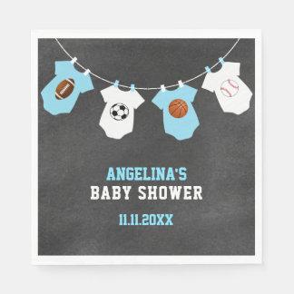 Sports Theme Chalkboard Blue Boy Baby Shower Napkin