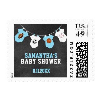 Sports Theme Chalkboard Blue Boy Baby Shower Postage