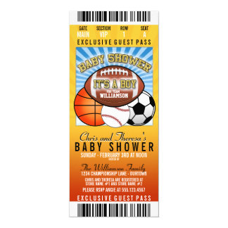Sports Theme Party Baby Shower 4x9.25 Paper Invitation Card