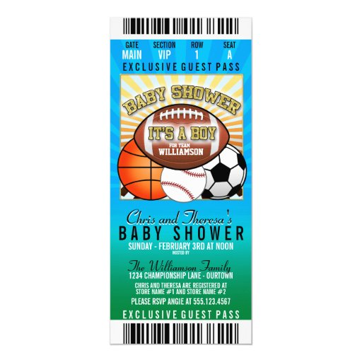 sports theme party baby shower paper invitation card zazzle