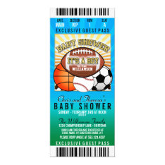 Sports Theme Party Baby Shower Card at Zazzle